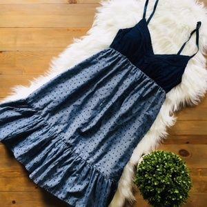 MAURICE'S Blue Chambray Eyelet Dress XSmall